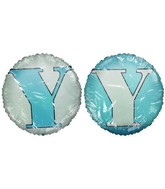 "18""Letter &#39Y&#39 White and Baby Blue"