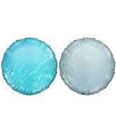 "18"" Solid Pale Blue & White Round Mylar Balloon"