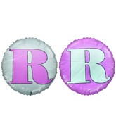 "18"" Classic Letter Balloon Letter ""R"" Pink/White"