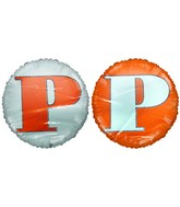 "18"" Letter P Orange & White Round Mylar Balloon"