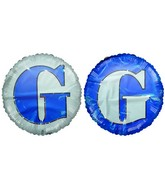 "18"" Letter G Navy Blue & White Round Mylar Balloon"