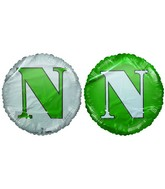 "18"" Letter N Green & White Round Mylar Balloon"