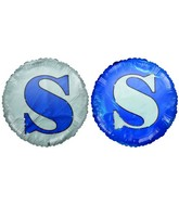 "18"" Letter S Navy Blue & White Round Mylar Balloon"