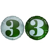 "18"" Number 3 Green & White Foil Balloon"