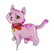 "44"" Pink Cat with Bow and Bell Balloon"