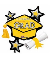 "31"" SuperShape Congrats Grad Yellow Cluster Balloon"