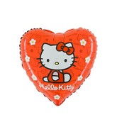 "18"" Hello Kitty Sitting Red Heart Balloon"