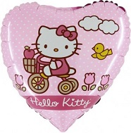 "18"" Hello Kitty On Bike Heart Pink Mylar Balloon"
