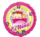 "18"" Es Nina Baby Girl in Bed Balloon Packaged"