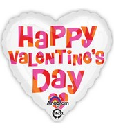 "18"" Happy Valentines Day Pink Red & Orange Balloon"