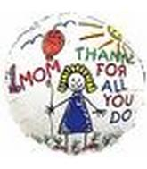 "2"" Airfill #1 Mom Thanks/Kids Balloons"