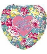 "4"" Airfill Happy Mothers Day Floral Heart  Balloon"