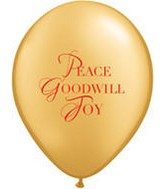 "11"" Peace Goodwill Joy Round Golden Latex Balloon"