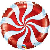 "18"" Round Candy Swirl Red Balloons"