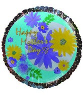 "9"" Airfill Happy Mothers Day Flowers Silver Balloon"