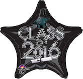 "18"" Class of 2016 - Black Balloon"