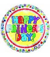 "4"" Happy Fathers Day Themed White Airfill Mylar Balloon"