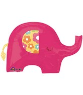 "32"" Pink Elephant Super Shape Foil Balloon"
