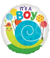 "18"" It's a Boy Snail Balloon Packaged"