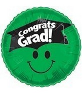 "18"" Smiley Face Grad & Hat Green"