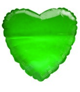 "18"" Transparent Green Heart Shaped Balloon"