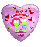 "18"" Hoy Cumplimos Love couple hearts pink balloon"