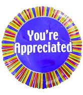"4"" Airfill You&#39re Appreciated Colorful Stripes Balloon"