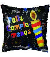 "18"" Feliz cumplea�os Candle Spanish dots black Balloon"
