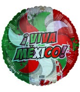 "18"" Viva Mexico! Patriotic colors Transparent Balloon"