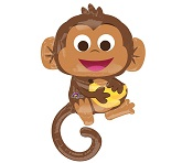 "36"" Happy Monkey Balloon with Banana"
