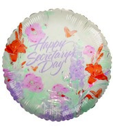 "18"" Happy Secretary&#39s Day Watercolor Flowers Balloon"