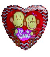 "36"" Te Amo Cute Monkey Couple Zigzag Jumbo Heart Balloon"