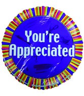 "9"" Airfill You&#39re Appreciated Colorful Stripes Balloon"
