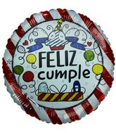 "18"" Feliz Cumple Red & white Stripes Cupcake Balloon"