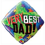 "18"" Very Best Dad Stars Packaged Mylar Balloon"