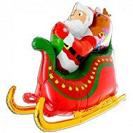 "46"" Multi-Sided Foil Shape Super Dimensional�Santa Sleigh"
