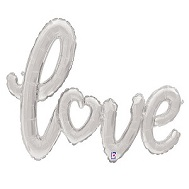 "47"" Air-filled Shape Love Script - Silver Foil Balloon"