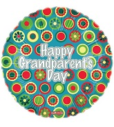 18'' Happy Grandparents Day Floral Fun Mylar Balloon