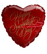 "18"" Happy Sweetest Day Gold Red Heart Shape Balloon"