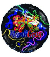 "9"" Airfill Mardi Grass Mask Balloon"