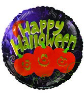 "9""  Airfill Happy Halloween Jack o Lantern Trio Balloon"