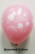"11"" B/DAY ICE CREAM 5PK Prank Balloons (Airfill)"