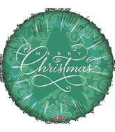 "18"" Starry Merry Christmas Balloon Green"