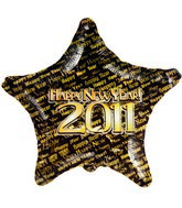 "18"" Happy New Year 2011 Gold Prank Black Star Balloon"