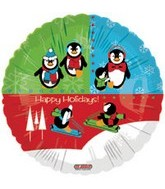 "18""Happy Holiday Penguin Fun Balloon"