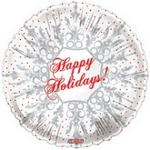 "18"" Happy Holidays Snow Flake White Balloon"