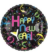 "18"" New Years Colorful Confetti Mylar Balloon"