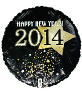 "18"" Happy New Year 2014 Gold Silver Prank Balloon"