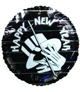 "9"" Airfill Happy New Year Black Balloon"