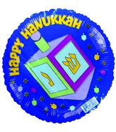 "4"" Airfill Happy Hannukka Dreidel Blue Balloon"